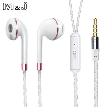 M&J Wired Earphone For iPhone 6s 6 5 Xiaomi Hands free Headset Bass Earbuds Stereo Headphone For Apple Earpod Samsung earpiece