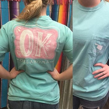 Mint  Comfort Colors with Pink OK on Back-oklahoma t-shirt