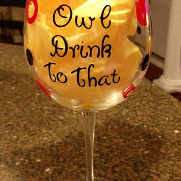 Personalized Wine Glass, Custom Wine Glass, Owl WIne Glass, Bird Wine Glass, Nature Wine Glass