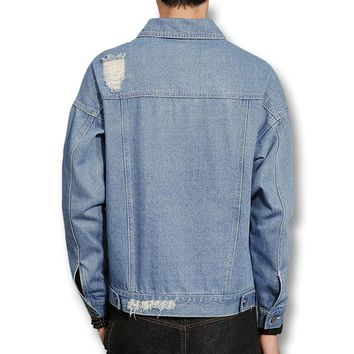 new Men Ripped Hole Vintage Denim Jeans Jackets size mlxl