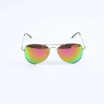 The Aviator Sunglasses in Silver & Sunset