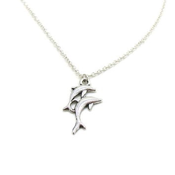 Dolphin Necklace, Dolphin Charm, Dolphin Jewelry, Dolphin Pendant, Bottlenose Dolphin Necklace, Silver Dolphin Jewelry, Porpoise Necklace