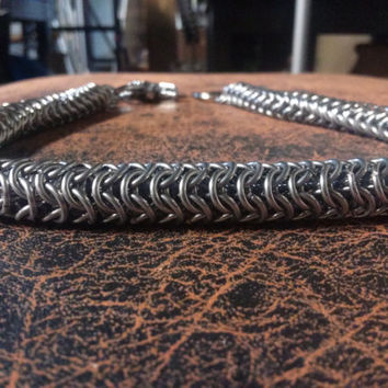"""Stainless Steel Chainmail Wallet Chain Captive Round Maille 22.5"""" Long"""