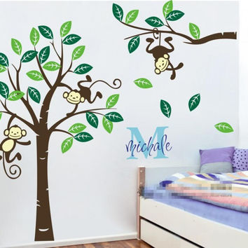 Large 1.9M high Personalized name Monkey Tree Wall Art Stickers Kids Nursery Vinyl Decals customized wall stickers  ES-13