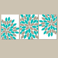 Turquoise Sepia Wall Art CANVAS or Prints Teal Bathroom Pictures Bedroom Flower Artwork Flower Burst Dahlia Set of 3 Art Home Decor
