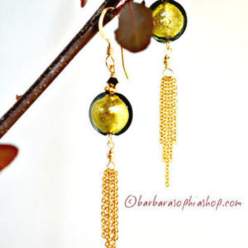 Simply Elegant, Murano Glass Earrings, Forest Green Dangle Earrings With 14k Gold Fill Chain, - Forest Waterfall