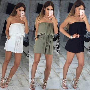 Casual Wrap Strapless Sexy Women's Fashion Jumpsuit [9415360396]