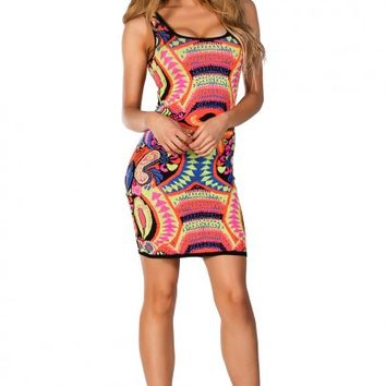 Summer Neon Mulitcolored Tribal Print Knit Tank Dress
