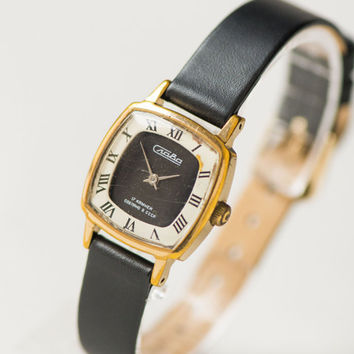 Gold plated women's watch, square lady's wristwatch Glory, minimalist watch 70s fashion, black white face watch, genuine leather strap new