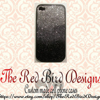 Glitter Sparkly Black and Silver Ombre Fade iPhone 4/4S OR 5 Cell Phone Case