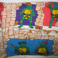 Vintage 1988 Teenage Mutant Ninja Turtle Fabric Destash Remnant 20 x 150 Inch Craft Fabric TMNT Fabric Clean Unused  NO Full Characters