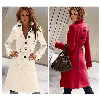 Winter Coat Women 2017 New Wool Coat Woman Jacket European American Fashion Ably Female Cashmere Coat With Belt Buckle WE029