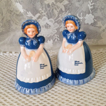 Blue Bonnet Sue Salt and Pepper Shakers, 1989 Collectible Set, Vintage Blue and White Kitchen Decor