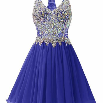 New Arrival Short Prom Dress 2018 Sexy V Neck Heavy Sparkling Beading Crystal Backless Illusion Colorful Girls Formal Party Gown