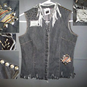 Rocker Spiked Jean Top Vest Women's size Small 4/6 Studded Patched Frayed lace vinyl