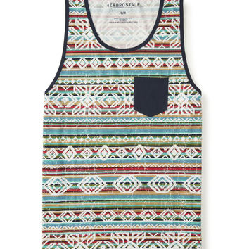 Distressed Southwest Stripe Pocket Tank