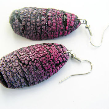 Ombre earrings- polymer clay- crackled earrings-purple and grey earrings-fimo earrings-dangle earrings-organic look earrings