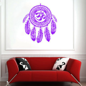 Dream Catcher Dreamcatcher Feathers Hindu Om Symbol Wall Decal Vinyl Sticker Decals Bedroom Home Wall Art Decor Wall Decals V995