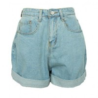 Oversized Boyfriend Style High Waist Denim Shorts with Rolled Cuffs