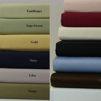"""16"""" Deep Pocket- 300TC Solid Egyptian Cotton Luxury Bed Sheet Sets Color: Royal Blue Size: Olympic Queen"""