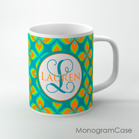 lime green orange floral customized tea cup
