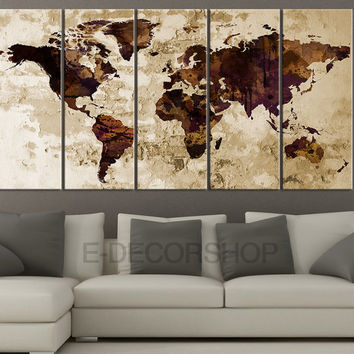 Retro WORLD MAP Canvas Print Sephia Art Drawing on Old Wall - World Map 5 Piece Canvas Art Print - Ready to Hang - Brawn World Map