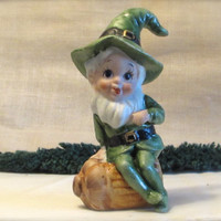 Bisque Porcelain Leprechaun, Green Suited Leprechaun Figurine, laslovelies