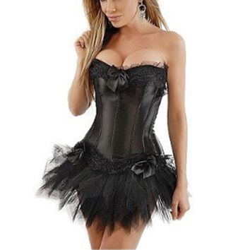New Sexy Gothic Satin Lingerie Lace Corset Top + G-string + Skirt Bustier Mini Tutu Wedding Dress Costume Black Corset S-6XL