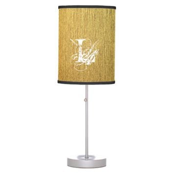 Golden Texture typography Monogram Letter Desk Lamp