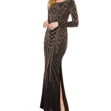 XSCAPE Caviar Beaded Long Sleeve Jersey Gown | Dillards