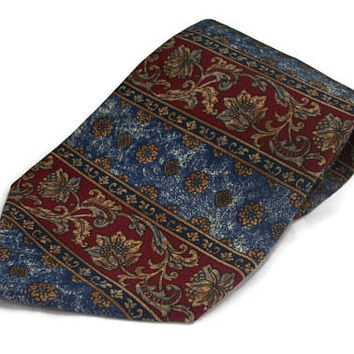 Vintage Metropolitan Museum of Art MMA Necktie Mens Tie - Dark Red Maroon Blue Gold Floral Print Flower Pattern - 4 inch Wide 58 Inches Long