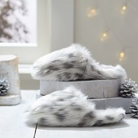 Faux Fur Slippers, Grey Leopard