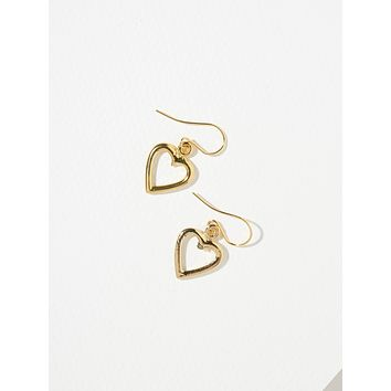 Gold Mini Cut-Out Heart Earrings