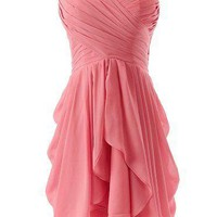 Women's Ruched Chiffon Bridesmaid Dress Short Sweetheart Party Dance Gown