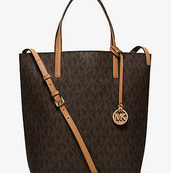 NWT Michael Kors Hayley Large MK Signature Convertible PVC Tote, Shoulder Bag