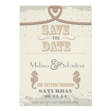 Nautical Beach Sand Heart Knot Save the Date