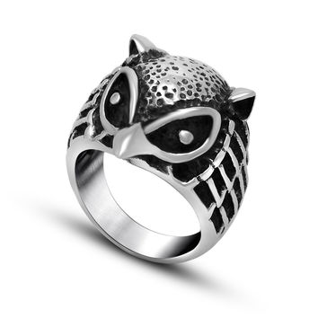 Gift Jewelry Shiny New Arrival Stylish Accessory Vintage Owl Creative Couple Titanium Ring [6542648771]