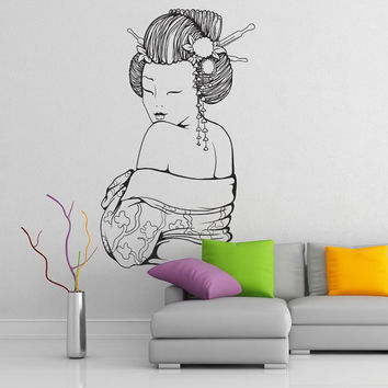 Geisha Wall Decal Vinyl Sticker Art Decor girl Japan Asia minimalism fan Sakura religion hieroglyph drawing sketch bedroom mural gift (i124)
