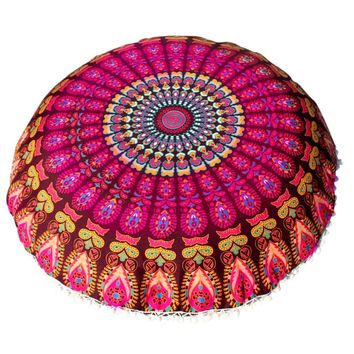 Creative Large 80*80cm Mandala Floor Pillows Bohemian Meditation Pillows Cover Round Pouf Retro Boho Tapestry Cover Cases 1PC