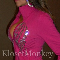 SEXY HOT PINK SPORT SILVER ANGEL WINGS TRACK FUNNEL ZIP JACKET BIKER TOP SMALL S