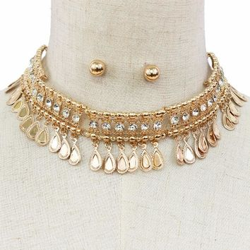 """14"""" gold crystal coin dangle choker necklace .30"""" earrings 1.50"""" wide"""