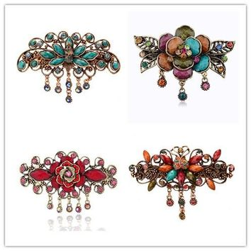 vintage Palace headdress Flower tassel hairpin hair clips barrette accessories for women rhinestone hairgrip tiara decorations
