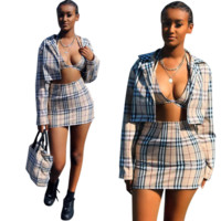 Burberry New fashion plaid top and coat and Skirt leisure three piece suit women