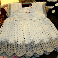 Baby crochet dress summer crochetyknitsnbits hand made baby girl clothes white silver baby shower gift layette new born  0 to 3 months appx
