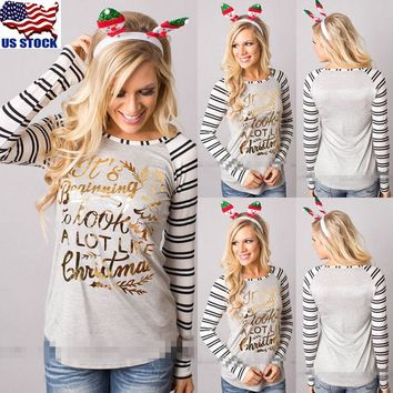 US Women's Christmas Loose Tops Long Sleeve Pullover Casual Blouse XMAS T-shirts