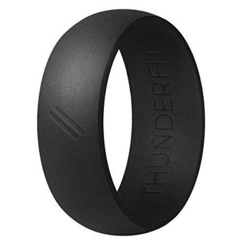 Silicone Wedding Ring Men Rubber Band Active Sport Exercise Fitness Black Size 8