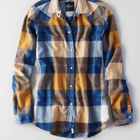AEO Plaid Boyfriend Shirt, Yellow