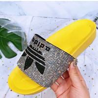 ADIDAS Fashion Women Slippers Full Color Diamond Shining Slippers B-XHYMX Yellow