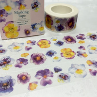 Purple flower washi tape 10M x 2CM pretty flower masking tape watercolor color flower sticker tape dry flower theme diary scrapbook gift