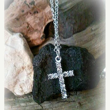 Rhinestone Cross Necklace, Cross, I Love Jesus, Religious Jewelry, Sparkle,Faith Forever Jewelry, Everyday Minimalist, Ready to Shop